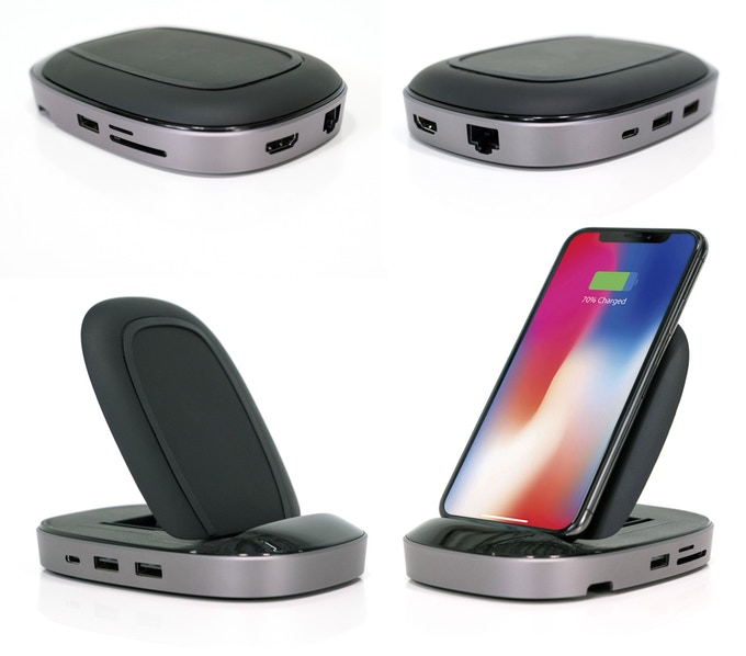 HyperDrive USB-C Hub + 7.5W Qi Wireless Charger iPhone Stand