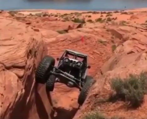 Car Climbs a Cliff